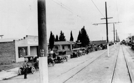Sherman Way divided by railroad tracks in downtown Owensmouth (1920s)..jpg